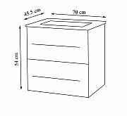 Baza si lavoar seria 754 - 70cm , suspendat cu sertare , ALB_3
